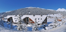 AO Center Davos, picture from the outside of the building in winter with snow, 2009