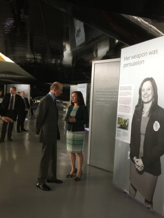 Anna Macdonald discussing the exhibition with HRH the Duke of Kent, who formally opened the re-designed musum